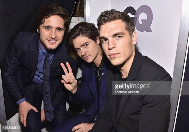 Actors Diego Boneta Will Peltz and Zac Frognowski attend the GQ 20th Anniversary Men of the Year Party at Chateau Marmont on December 3 2015 in Los...