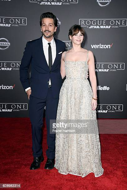 Actors Diego Luna and Felicity Jones attend the premiere of Walt Disney Pictures and Lucasfilm's Rogue One A Star Wars Story at the Pantages Theatre...