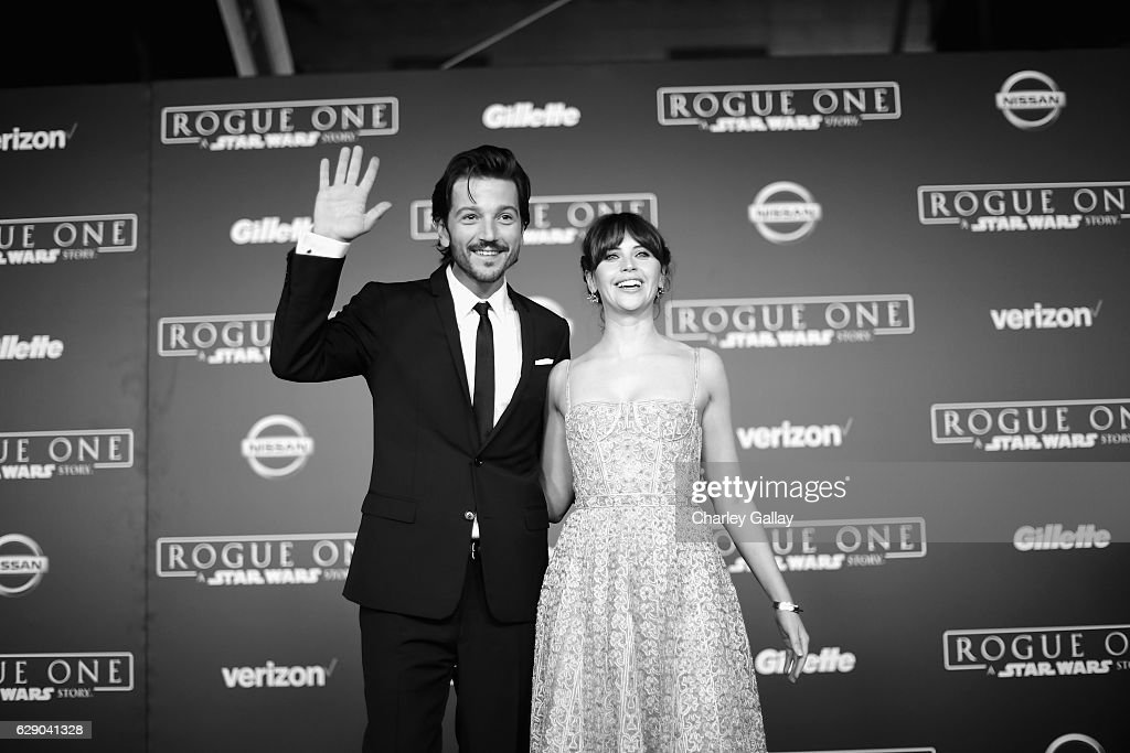 Actors Diego Luna (L) and Felicity Jones attend The World Premiere of Lucasfilm's highly anticipated, first-ever, standalone Star Wars adventure, 'Rogue One: A Star Wars Story' at the Pantages Theatre on December 10, 2016 in Hollywood, California.