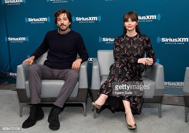 Actors Diego Luna and Felicity Jones visit the SiriusXM Studio on November 29 2016 in New York City