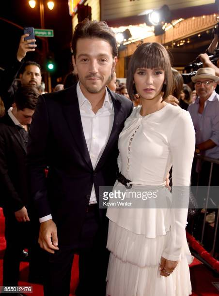 Actors Diego Luna and Nina Dobrev arrive at the premiere of Columbia Pictures' Flatliners at the Ace Theatre on September 27 2017 in Los Angeles...
