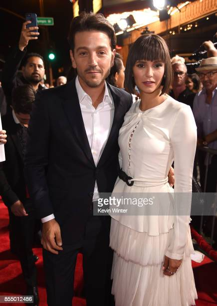 Actors Diego Luna and Nina Dobrev arrive at the premiere of Columbia Pictures' 'Flatliners' at the Ace Theatre on September 27 2017 in Los Angeles...