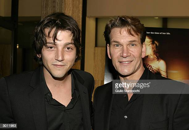 Actors Diego Luna and Patrick Swayze attend the Los Angeles premiere of 'Dirty Dancing Havana Nights' February 23 2004 in Hollywood California