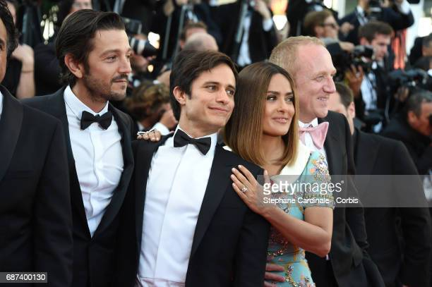 Actors Diego Luna Gael Garcia Bernal and Salma Hayek and FrancoisHenri Pinault attend the 70th Anniversary of the 70th annual Cannes Film Festival at...