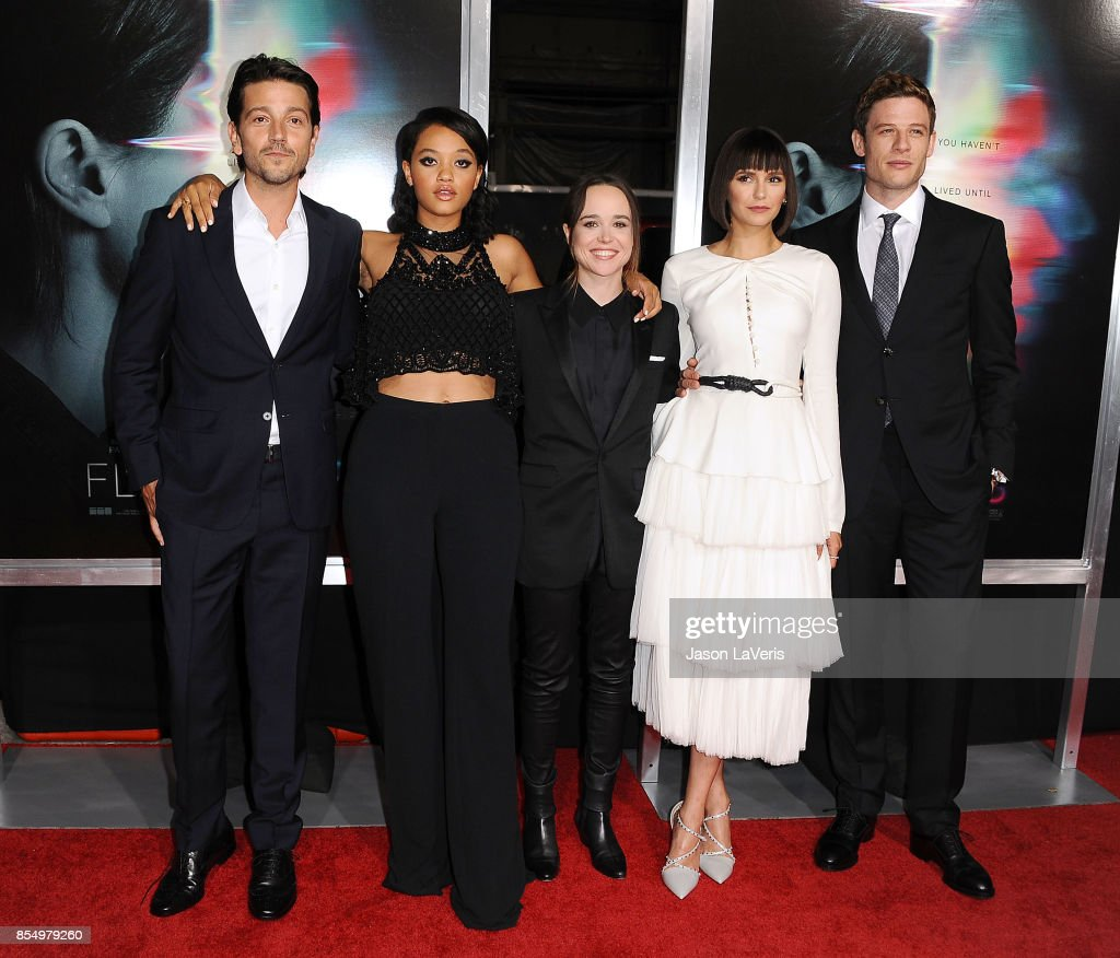 Actors Diego Luna, Kiersey Clemons, Ellen Page, Nina Dobrev and James Norton attend the premiere of 'Flatliners' at The Theatre at Ace Hotel on September 27, 2017 in Los Angeles, California.