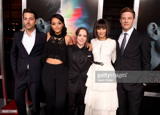 Actors Diego Luna Kiersey Clemons Ellen Page Nina Dobrev and James Norton arrive at the premiere of Columbia Pictures' 'Flatliners' at the Ace...