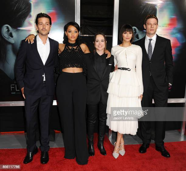 Actors Diego Luna Kiersey Clemons Ellen Page Nina Dobrev and James Norton attend the premiere of 'Flatliners' at The Theatre at Ace Hotel on...