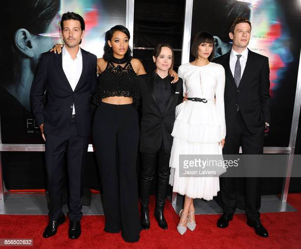 Actors Diego Luna Kiersey Clemons Ellen Page Nina Dobrev and James Norton attend the premiere of Flatliners at The Theatre at Ace Hotel on September...