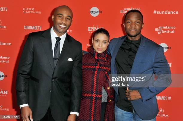 Actors Dijon Talton and Brytni Sarpy and screenwriter Qasim Basir attend the 'A Boy A Girl A Dream' Premiere during the 2018 Sundance Film Festival...