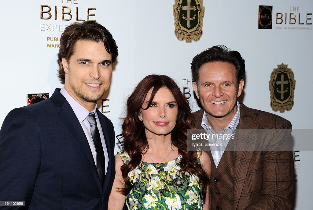 L-R) Actors Diogo Morgado, Roma Downey and executive producer Mark Burnett attend 'The Bible Experience' Opening Night Gala at The Bible Experience on March 19, 2013 in New York City.