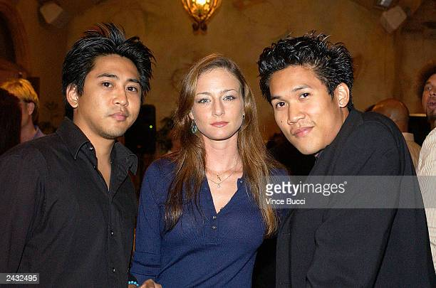 Actors Dion and Dante Bosco and actress Katharine Towne attend a party for director John Singleton at Loggia on August 26 2003 in Hollywood...
