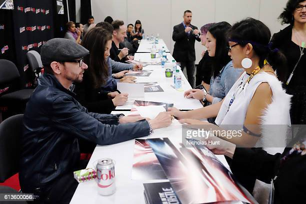 Actors DJ Qualls Alexa Davalos Rufus Sewell and Brennan Brown attend The Man in the High Castle Meet Greet during the 2016 New York Comic Con Day 3...
