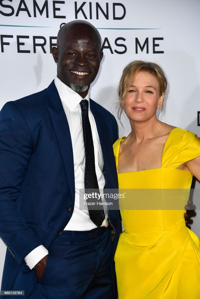actors Djimon Hounsou and Renee Zellweger, attend the Premiere Of Paramount Pictures And Pure Flix Entertainment's 'Same Kind Of Different As Me' at Westwood Village Theatre on October 12, 2017 in Westwood, California.