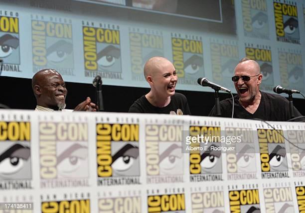 "Actors Djimon Hounsou, Karen Gillan and Michael Rooker speak at Marvel's ""Guardians Of The Galaxy"" panel during Comic-Con International 2013 at San..."