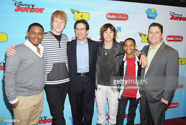 Actors Doc Shaw Adam Hicks Disney Channels Worldwide President and CCO Gary Marsh actors Leo Howard Tyler Jackson Williams and VP/GM Disney XD...