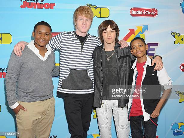 Actors Doc Shaw Adam Hicks Leo Howard and Tyler Jackson Williams attend the 201213 Disney Channel Worldwide Kids Upfront at the Hard Rock Cafe Times...