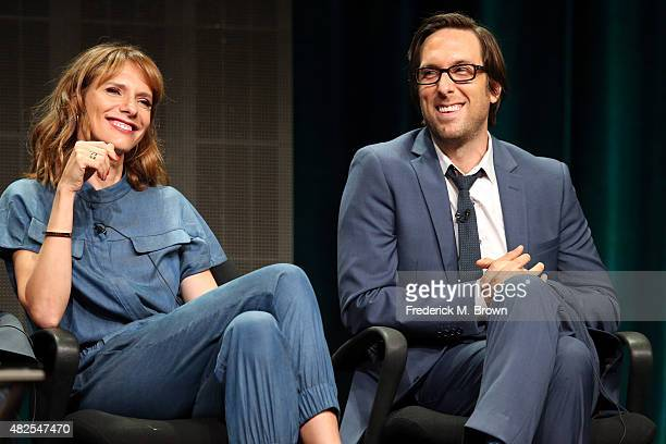Actors Dolly Wells and Timm Sharp speak onstage during the 'Blunt Talk' panel discussion at the STARZ portion of the 2015 Summer TCA Tour at The...