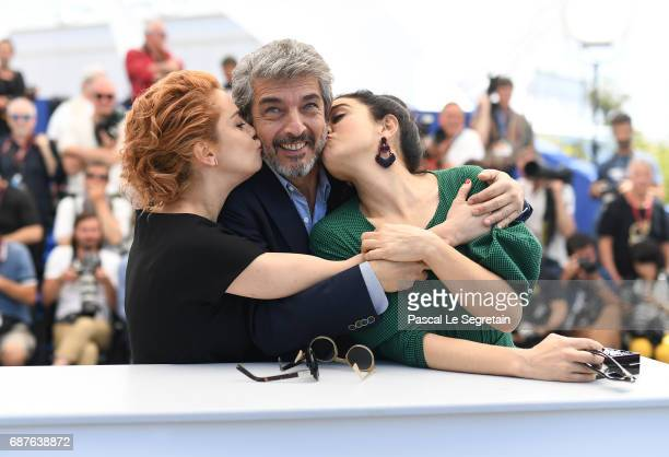 Actors Dolores Fonzi Ricardo Darin and Erica Rivas attend the 'La Cordillera El Presidente' photocall during the 70th annual Cannes Film Festival at...