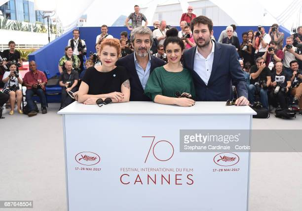 Actors Dolores Fonzi Ricardo Darin Erica Rivas and Santiago Mitre attend the 'La Cordillera El Presidente' photocall during the 70th annual Cannes...