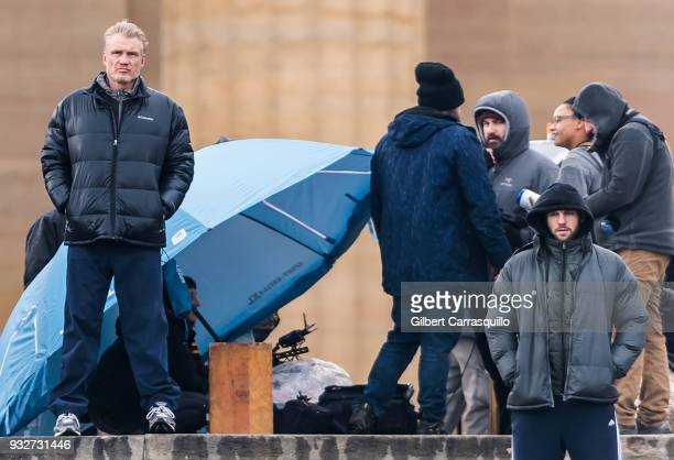 Actors Dolph Lundgren and Florian Munteanu are seen on set filming 'Creed II' at the Rocky Statue and the 'Rocky Steps' at The Philadelphia Museum of...