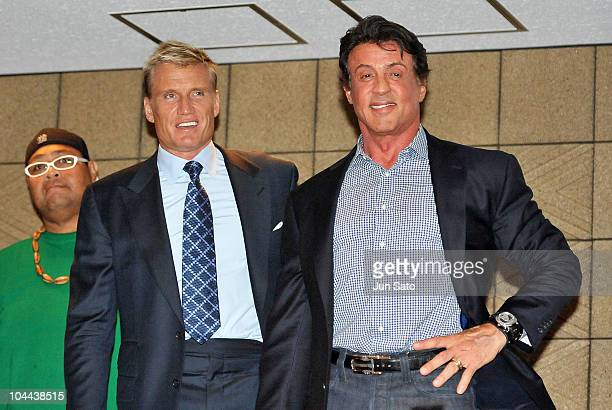 Actors Dolph Lundgren and Sylvester Stallone are seen during the Grand Sumo Tournament at Ryogoku Kokugikan Hall on September 25, 2010 in Tokyo,...