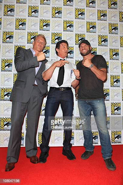 """Actors Dolph Lundgren, Sylvester Stallone and Randy Couture arrive at """"The Expendables"""" panel on day 1 of Comic-Con International at San Diego..."""