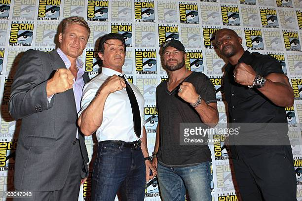 Actors Dolph Lundgren Sylvester Stallone Randy Couture and Terry Crews arrive at 'The Expendables' panel on day 1 of ComicCon International at San...