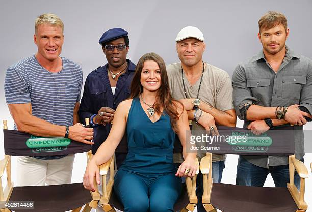 Actors Dolph Lundgren Wesley Snipes TV personality Camille Ford actors Randy Couture and Kellan Lutz attend 'The Expendables 3' Movies on Demand...