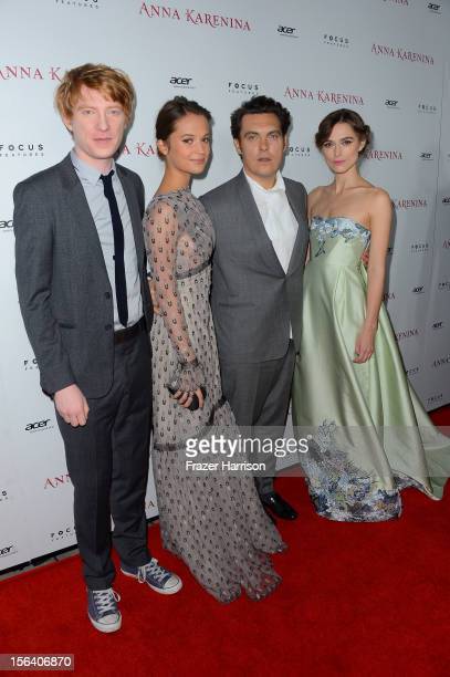 Actors Domhnall Gleeson and Alicia Vikander director Joe Wright and actress Keira Knightley attend the premiere of Focus Features' Anna Karenina held...