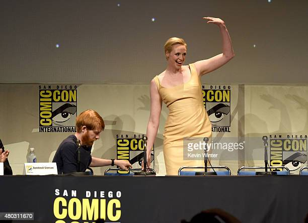 Actors Domhnall Gleeson and Gwendoline Christie speak onstage at the Lucasfilm panel during ComicCon International 2015 at the San Diego Convention...