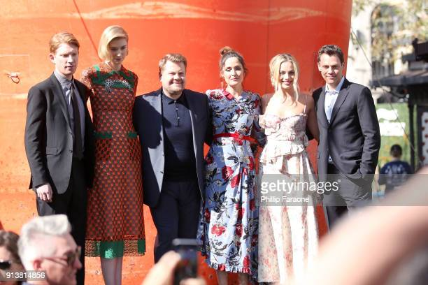 Actors Domhnall Gleeson Elizabeth Debicki James Corden Rose Byrne Margot Robbie and director/writer/producer Will Gluck attend the premiere of 'Peter...