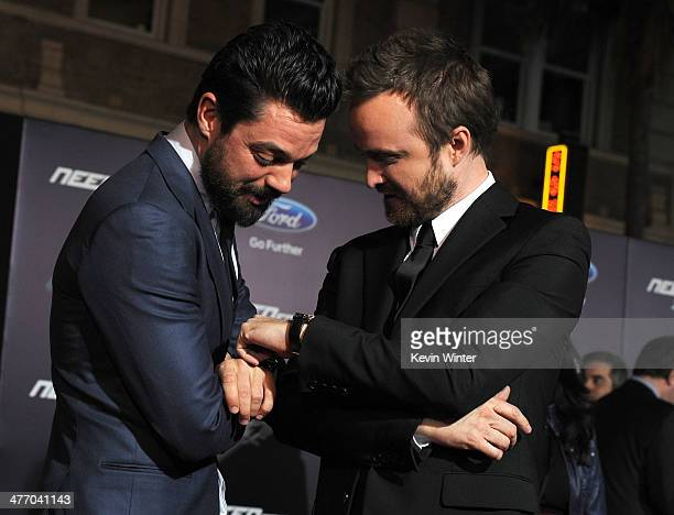 """Actors Dominic Cooper and Aaron Paul arrive at the premiere of DreamWorks Pictures' """"Need For Speed"""" at TCL Chinese Theatre on March 6, 2014 in..."""