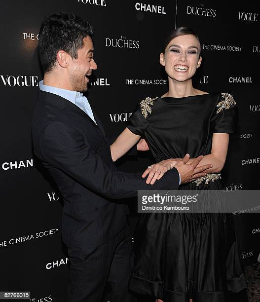 Actors Dominic Cooper and Keira Knightley attend the Cinema Society with Chanel and Vogue's screening of The Duchess at the Public Theater on...