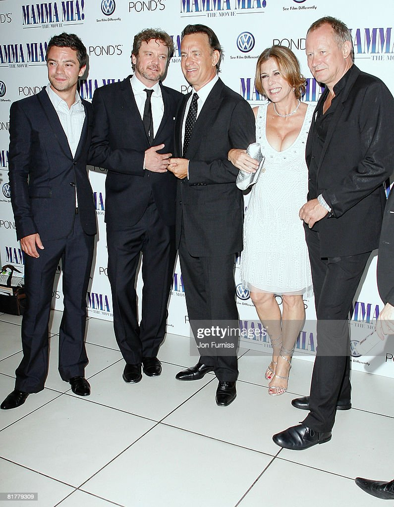 Actors Dominic Cooper, Colin Firth, executive producers Tom Hanks, Rita Wilson and actor Stellan Skarsgard attend the Mamma Mia! The Movie world premiere held at the Odeon Leicester Square on June 30, 2008 in London, England.