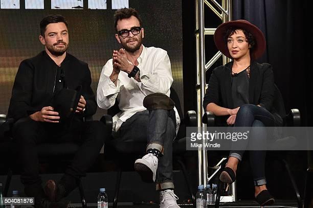 """Actors Dominic Cooper, Joseph Gilgun and Ruth Negga speak onstage during the AMC Winter TCA Press Tour 2016 """"Preacher"""" panel at The Langham..."""
