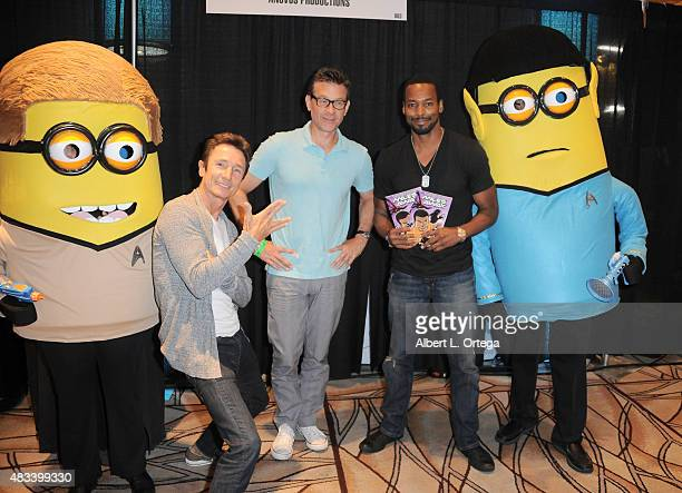 Actors Dominic Keating Connor Trineerand Anthony Montgomery with Kirk and Spock Minions at the 14th annual official Star Trek convention at the Rio...