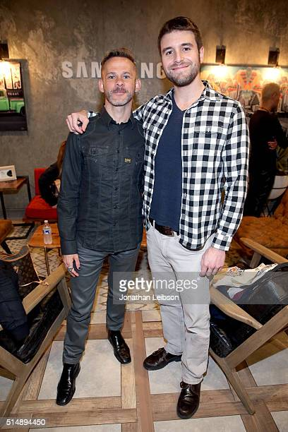 Actors Dominic Monaghan and Nathan Parsons attend The Samsung Studio at SXSW 2016 on March 11 2016 in Austin Texas