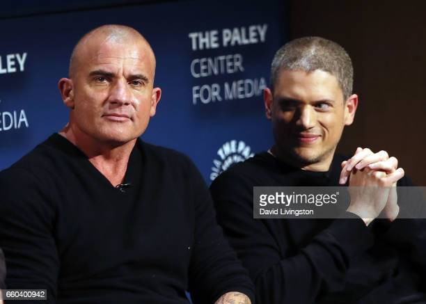 Actors Dominic Purcell and Wentworth Miller attend 2017 PaleyLive LA Spring Season Prison Break screening and conversation at The Paley Center for...