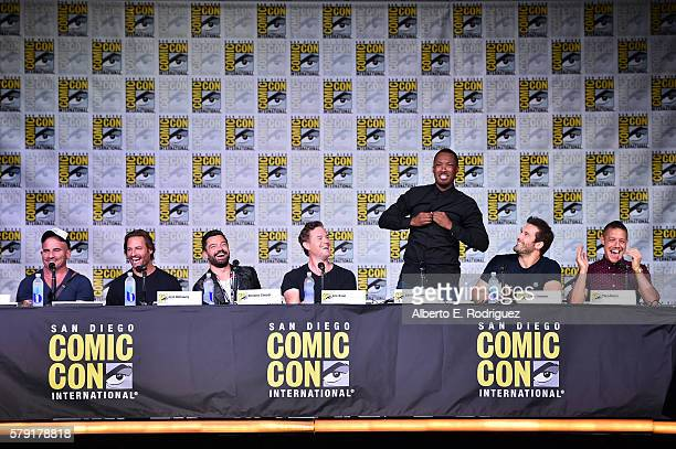 Actors Dominic Purcell Josh Holloway Dominic Cooper Eric Dane Corey Hawkins Clive Standen and Theo Rossi attend the Entertainment Weekly Brave New...