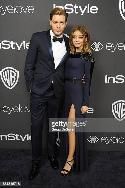 Actors Dominic Sherwood and Sarah Hyland arrive at the 18th Annual PostGolden Globes Party hosted by Warner Bros Pictures and InStyle at The Beverly...