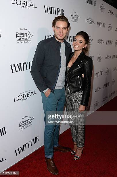 Actors Dominic Sherwood and Sarah Hyland attend a DJ night hosted by Vanity Fair L'Oreal Paris Hailee Steinfeld at Palihouse Holloway on February 26...