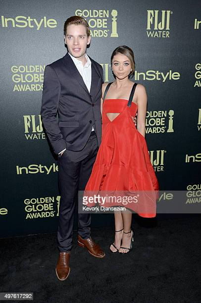 Actors Dominic Sherwood and Sarah Hyland attend Hollywood Foreign Press Association and InStyle Celebration of The 2016 Golden Globe Award Season at...