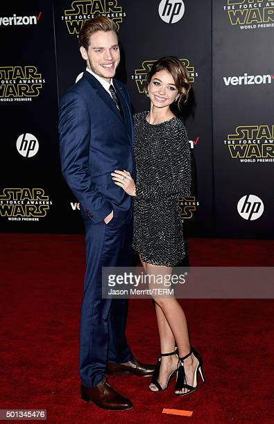 Actors Dominic Sherwood and Sarah Hyland attend the premiere of Walt Disney Pictures and Lucasfilm's 'Star Wars The Force Awakens' at the Dolby...