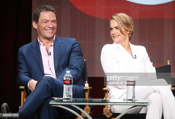 Actors Dominic West and Ruth Wilson speak onstage during the 'The Affair' panel discussion at the Showtime portion of the 2015 Summer TCA Tour at The...