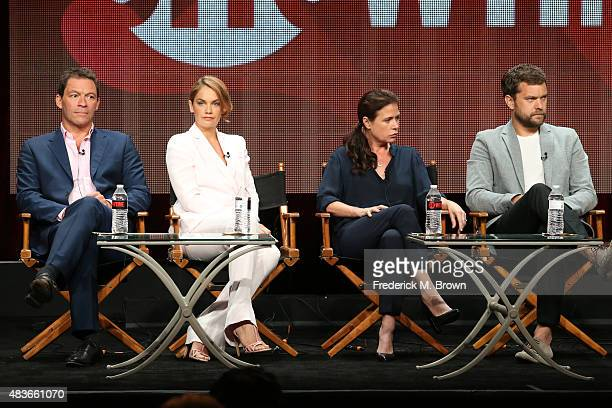 Actors Dominic West Ruth Wilson Maura Tierney and Joshua Jackson speak onstage during the 'The Affair' panel discussion at the Showtime portion of...