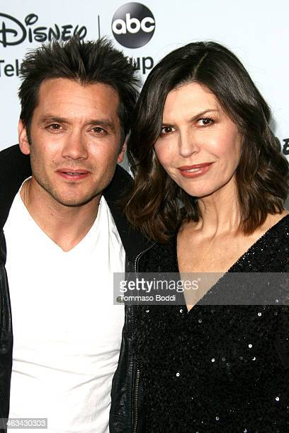 Actors Dominic Zamprogna and Finola Hughes attend the Disney ABC Television Group's 2014 winter TCA party held at The Langham Huntington Hotel and...