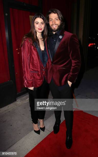 Actors Dominik GarciaLorido and Brock Kelly attend the premiere of Parade Deck Films' Desolation at Ahrya Fine Arts Theater on January 25 2018 in...