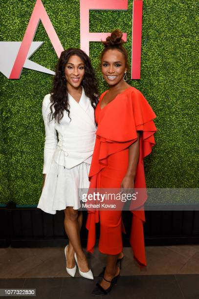 Actors Dominique Jackson and Janet Mock attend the 19th Annual AFI Awards at Four Seasons Hotel Los Angeles at Beverly Hills on January 4 2019 in Los...