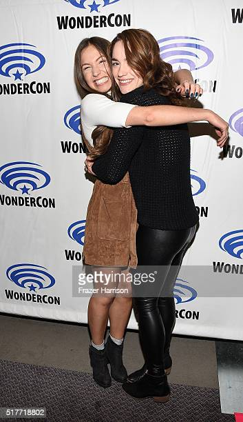 Actors Dominique ProvostChalkley and Melanie Scrofano attend the Wynonna Earp panel at WonderCon 2016 Day 2 at Los Angeles Convention Center on March...