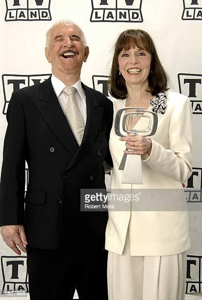 Actors Don Adams and Barbara Feldon pose backstage at the TV Land Awards 2003 at the Hollywood Palladium on March 2 2003 in Hollywood California...